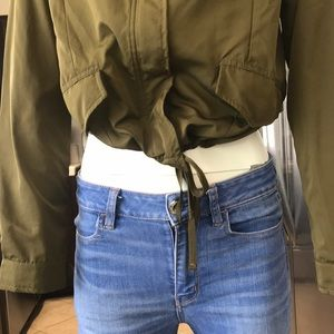 Forever 21 Sweaters - Forever 21  jacket crop army green zip hoodie